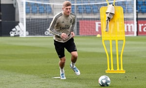 Toni Kroos in training at Real Madrid's Valdebebas training ground.