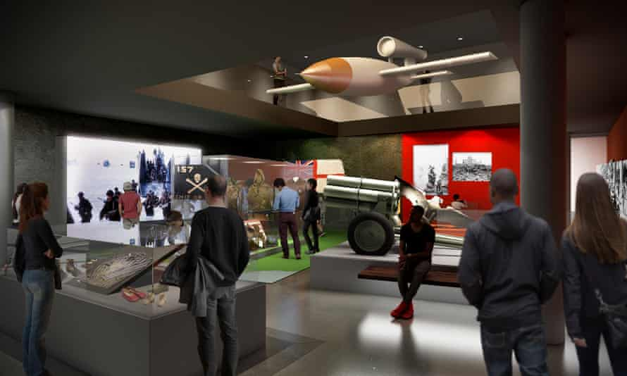 Concept image of the V-1 flying bomb in a room at the Imperial War Museum, London, UK.