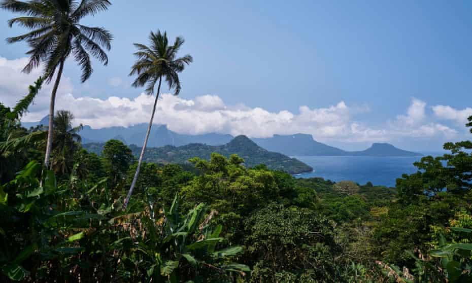 Príncipe Island with palm trees