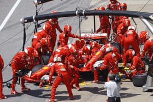 Vettel makes the pit stop for a change of nose.