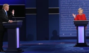 Donald Trump and Hillary Clinton on the debate stage on Monday night.