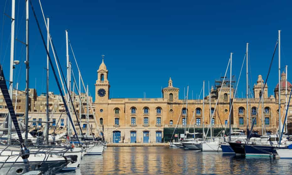 Maritime Museum of Malta, seen from the harbor on a sunny day.