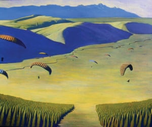 Grand Teton National Park In Art is open until 5 September. One of the latest paintings is Paragliders, 2004 by Travis Walker