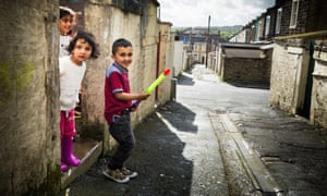 Children playing in the streets in Brierfield in Lancashire