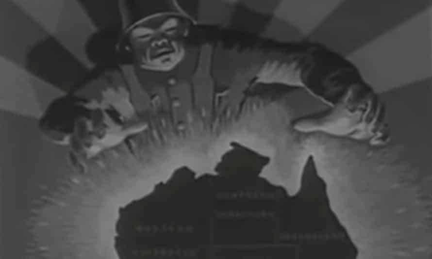 The opening shot of The Overlanders is a propaganda poster depicting a Japanese solider with his hands reaching towards a map of Australia.