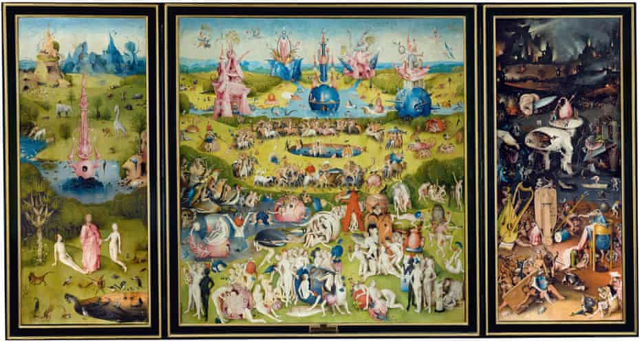 The full triptych of The Garden of Earthly Delights.