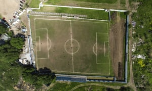 An aerial view of Club Social y Deportivo Liniers' soccer field in San Justo on the outskirts of Buenos Aires.