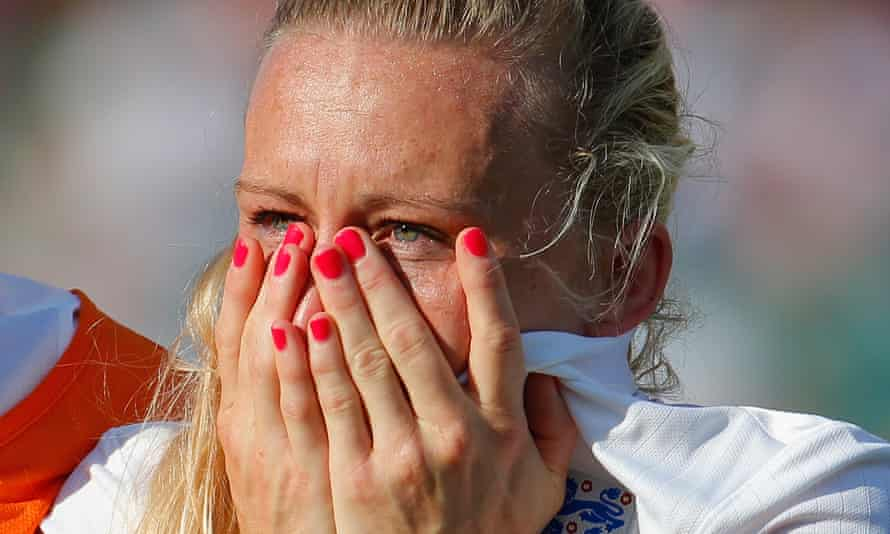 Laura Bassett of England is dejected after the FIFA Women's World Cup Semi Final match between Japan and England