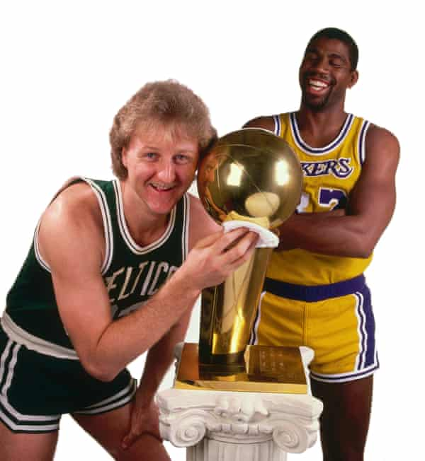 Larry Bird of the Boston Celtics and Magic Johnson of the Los Angeles Lakers during the 1984 NBA Finals at the Forum in Los Angeles.