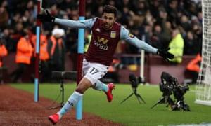 Mahmoud Trezeguet celebrates scoring Villa's late winner.
