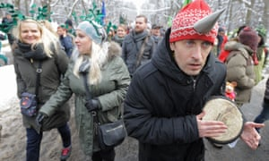 Protesters march to demand full protection of the Bialowieza Forest, in Warsaw.