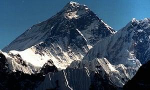 Mount Everest is seen from peak Gokyo Ri in Nepal.