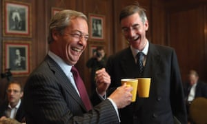 Rees-Mogg with Nigel Farage, whose November 2016 Ritz party he was invited to.