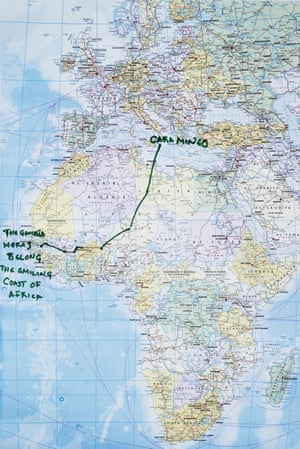 Migrants rescued by Red Cross durring crossing between Libya and Italy. Mineo, Italy. Musa's route map from Gambia to Italy.