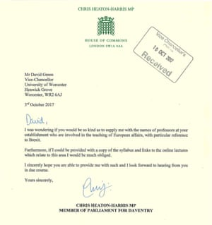 A letter by Chris Heaton-Harris to professor David Green, vice-chancellor at the University of Worcester.