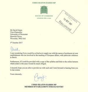 Heaton-Harris's letter