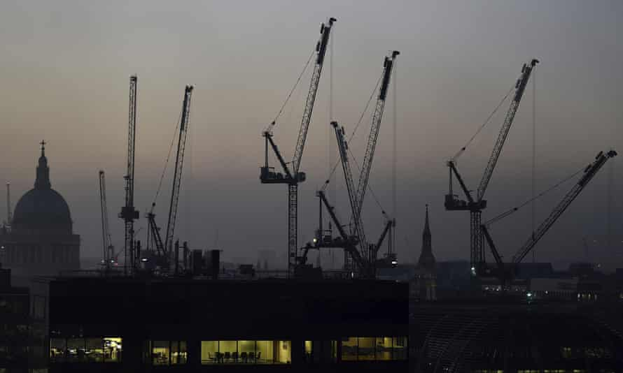 Cranes tower above the London skyline