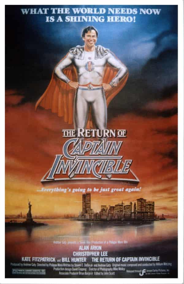 US poster of The Return of Captain Invincible, Alan Arkin, 1983.