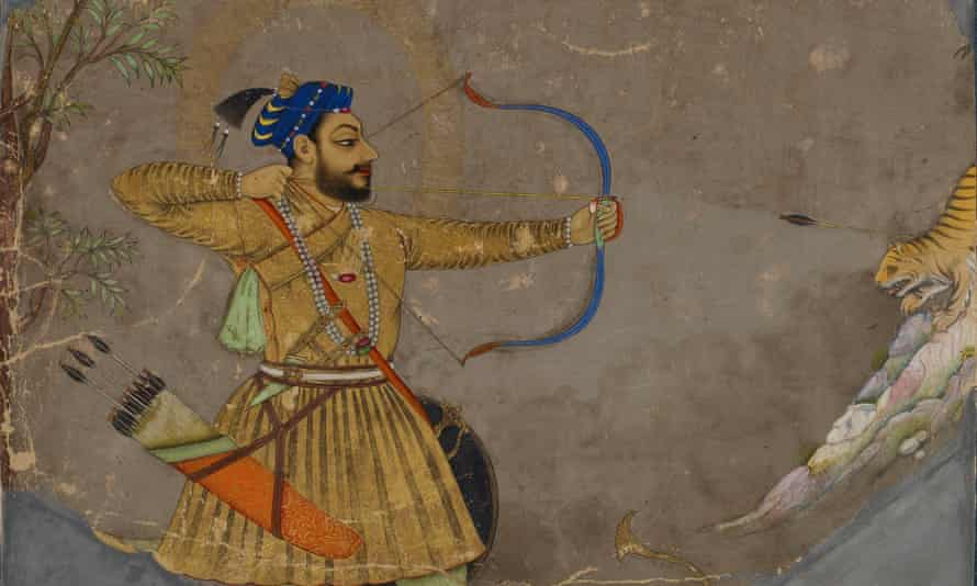 Painting with gold highlights of a sultan shooting a bow and arrow in profile