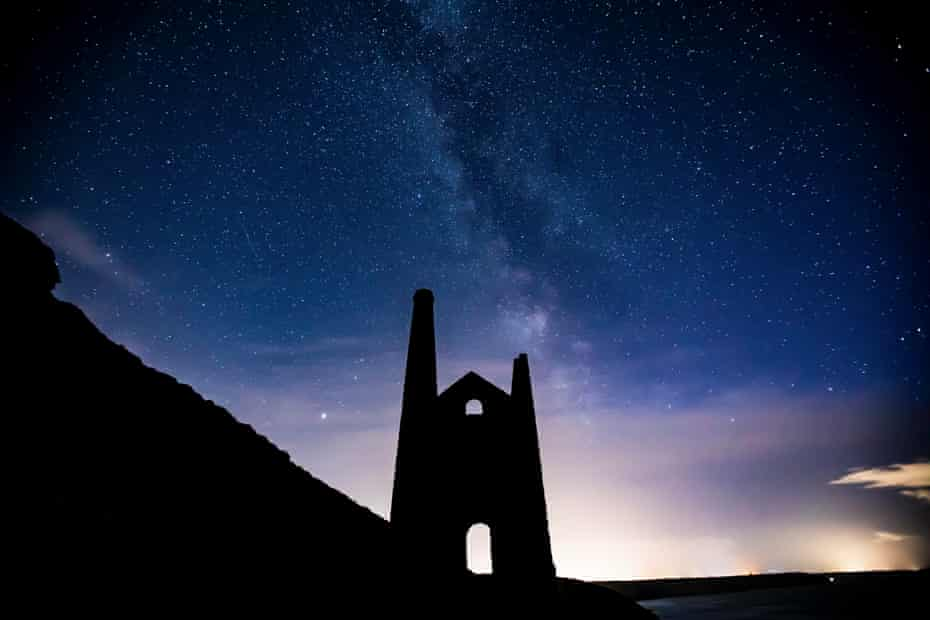 Stars over an old tin mine in St Agnes, Cornwall.