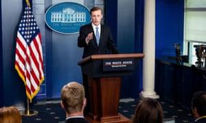 National Security Advisor Jake Sullivan speaks at the White House press briefing room.