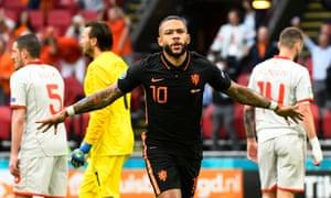 Netherlands' Memphis Depay celebrates scoring.