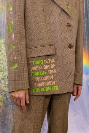 Detail on a Vetements suit AW21
