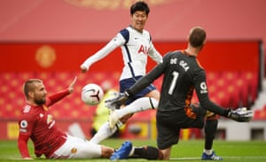 Son Heung-min scores Tottenham's second goal in their 6-1 win at Manchester United