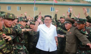 North Korean leader Kim Jong-un inspects a unit of the army.