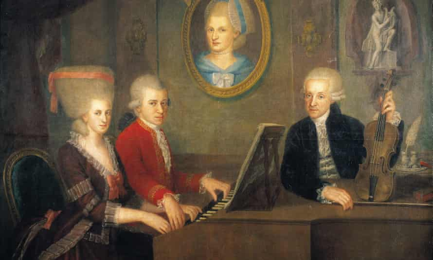 Wolfgang Amadeus Mozart and his sister, Maria Anna, who was also a child musical prodigy, at the piano.