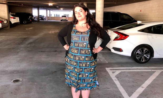 An Adversarial Fashion dress, modeled by the designer, Kate Rose.