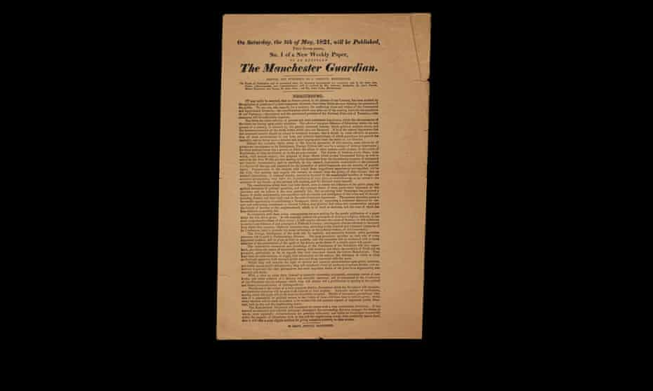 The original Prospectus for the Manchester Guardian, 1821.