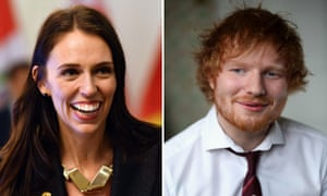 Composite photo showing New Zealand's Prime Minister Jacinda Ardern and English singer-songwriter Ed Sheeran