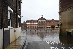 A flooded street is seen in York
