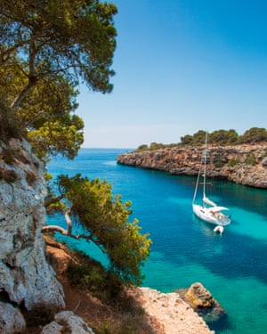 Sailboat at Cala Pi bay, Cala Pi, Mallorca, Balearic Islands, Spain