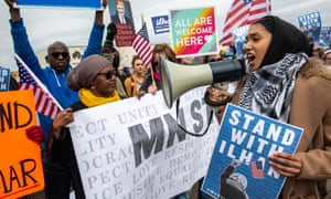 Protesters support Minnesota representative Ilhan Omar, outside an event attended by Donald Trump this week.