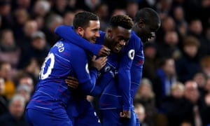 Eden Hazard celebrates scoring his side's second goal with Callum Hudson-Odoi and N'golo Kanté.