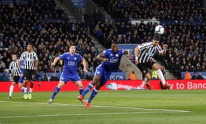 Ayoze Pérez scores leaps to guide a superb header into the net for the winning goal.