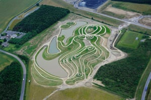 The curves of Northumberlandia, a sculpture of a reclining woman which is the world's largest human form sculpted into the landscape.