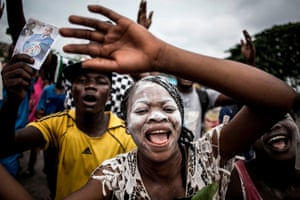 Supporters of the newly-elected president of the Democratic Republic of Congo, Félix Tshisekedi, celebrate in the streets of Kinshasa.