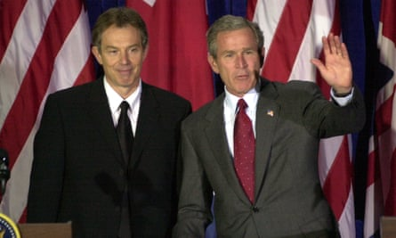 Tony Blair and George W Bush in Texas, 6 April, 2002.