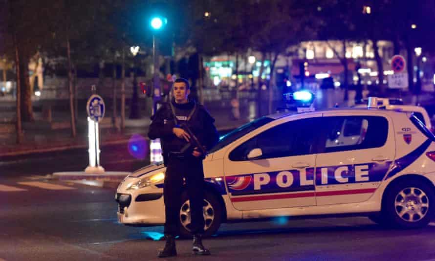 A policeman at the Place de la Republique in central Paris.