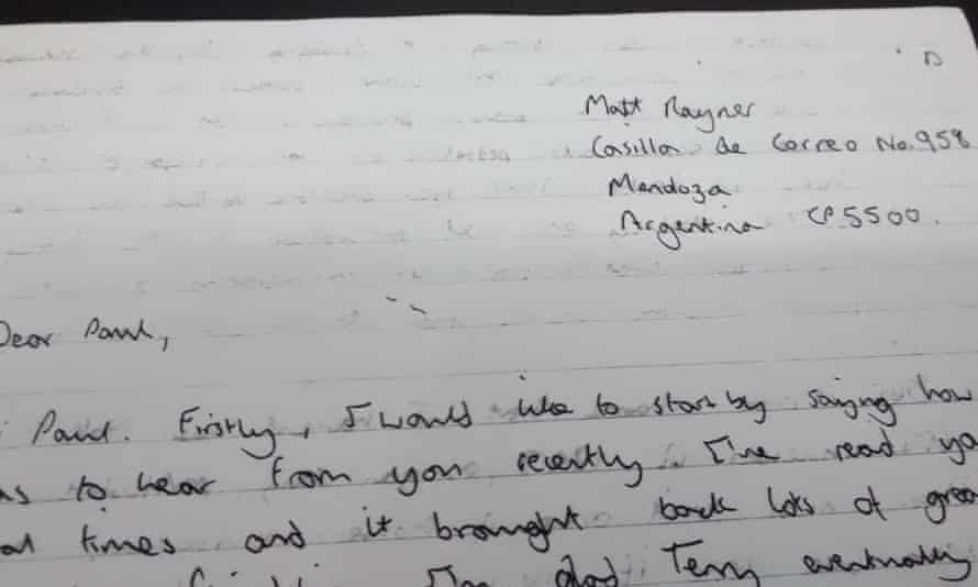 Letter written by Matt Rayner supposedly from Argentina.
