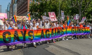 Gays Against Guns activists join the Pride march in New York this year.