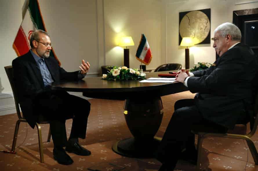 Iranian parliamentary speaker Ali Larijani gives an interview to Russian news agency TASS in Moscow on 20 April.