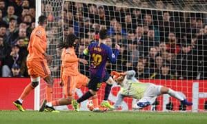 Messi scores Barcelona's third.