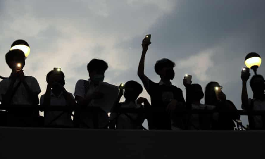 Students form a human chain during an anti-government protest in Sha Tin district in Hong Kong.