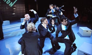 A scene from Enron at the Minerva Theatre, Chichester