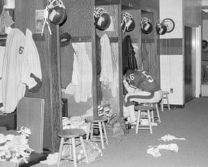 Lawrence Taylor sits in the locker room after losing to the New York Jets 27-21