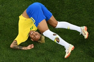 Brazil's forward Neymar falls to the turf – not for the first time – against Switzerland at the Rostov Arena.